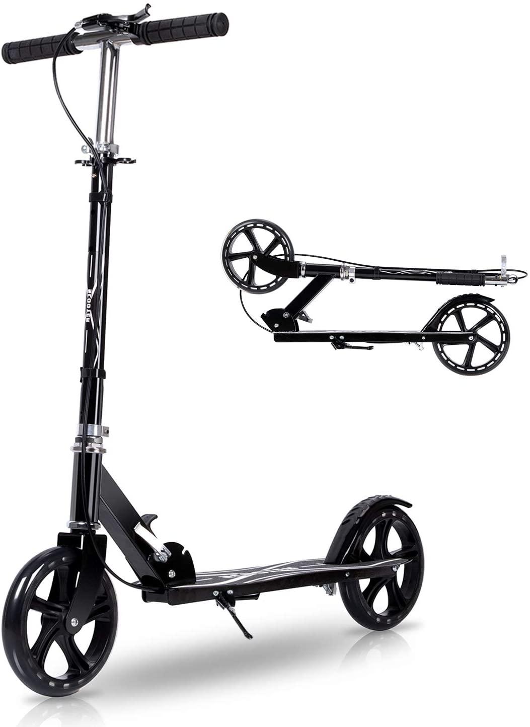 キックボード キックスクーター 子供 大人用 3段階調節 折りたたみ式 フット/ハンドブレーキ 持ち運び便利 アルミニウム製 立ち乗り式二輪車 - ブラック